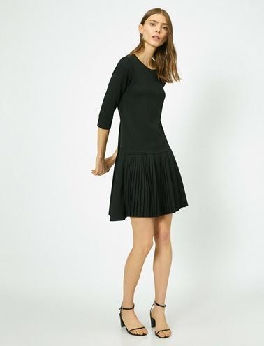 Koton Fırfır Detaylı Elbise Siyah